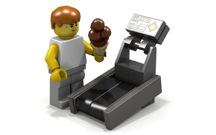 This LEGO wants his ice cream so he's jumping on a treadmill. Smart strategy?