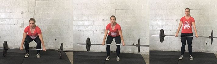 This is a different angle of the deadlift pull, shown from the front.