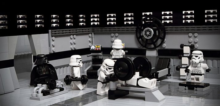 These Troopers get to work out in the Death Star's gym. You might have to buy a membership.