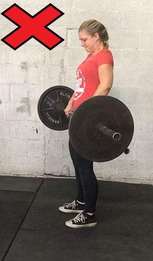 Do NOT bend your arms here like Staci during your deadlift.