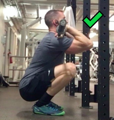 Make sure you go down low enough in your front squat, like so.