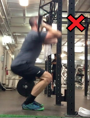 Showing a front squat not going low enough.