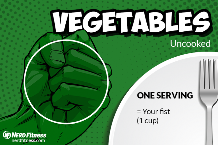 A serving of veggies should be the size of your first (or greater).