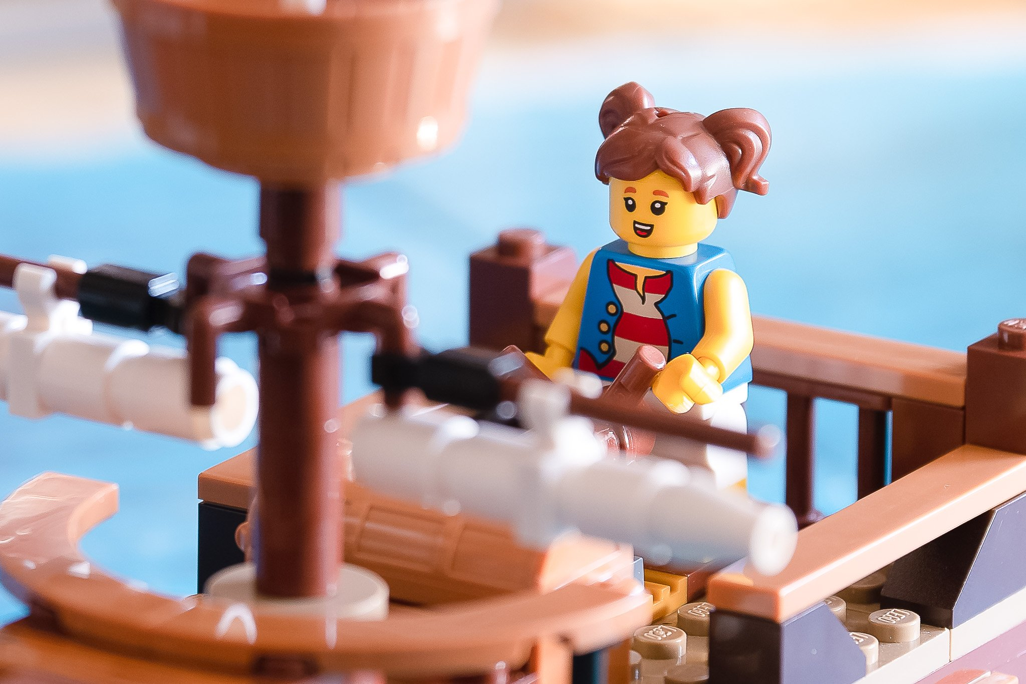 This LEGO knows strength training will help her burn off all that rum.