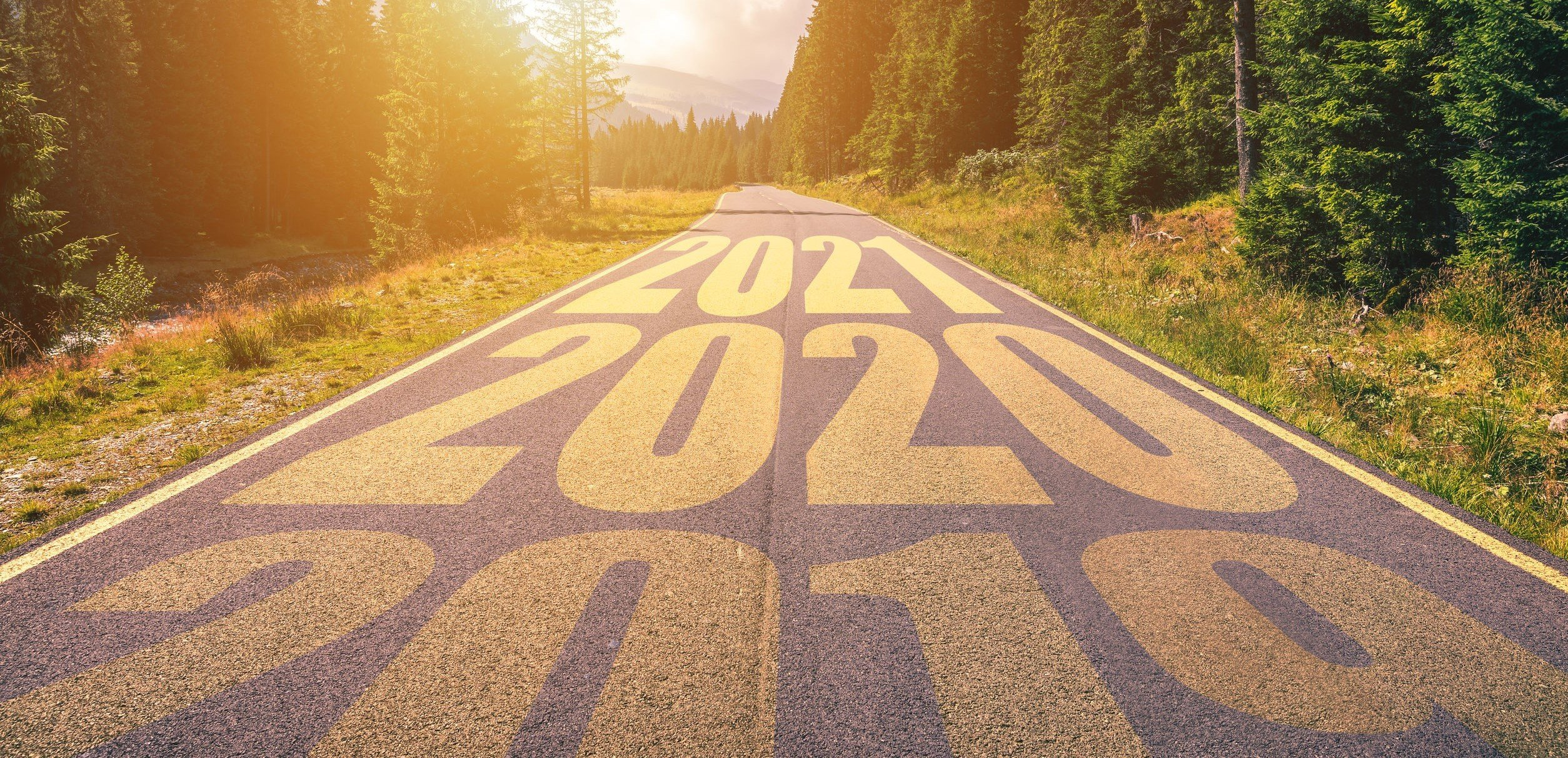 Empty asphalt road and New year 2019, 2020, 2021 concept. Drivin