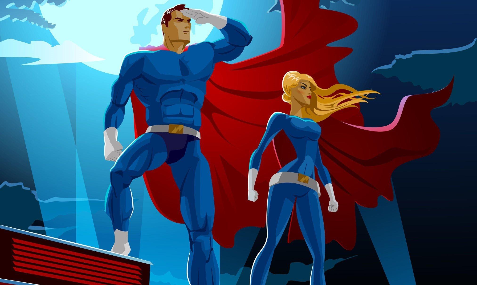 Superhero Couple. Male and female superheroes. Cloudy sky.