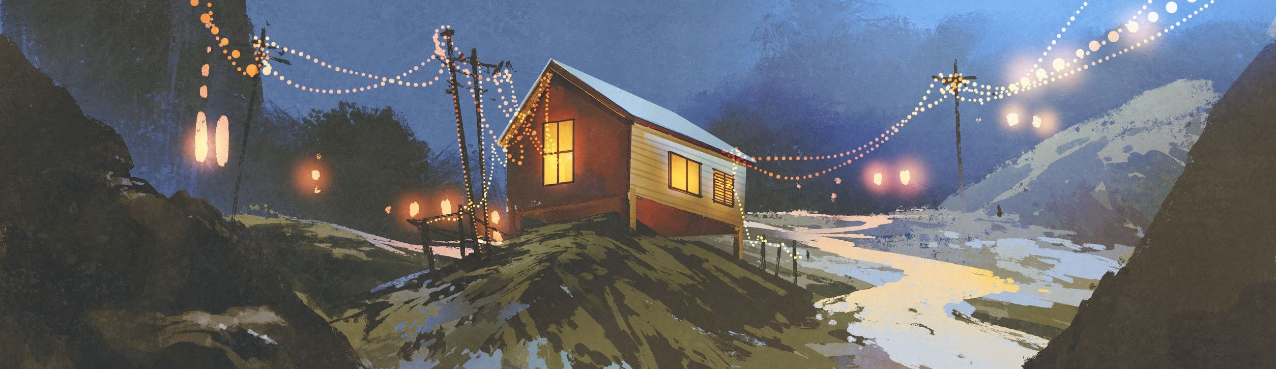 night scenery of wooden houses in the mountain in winter, illustration painting