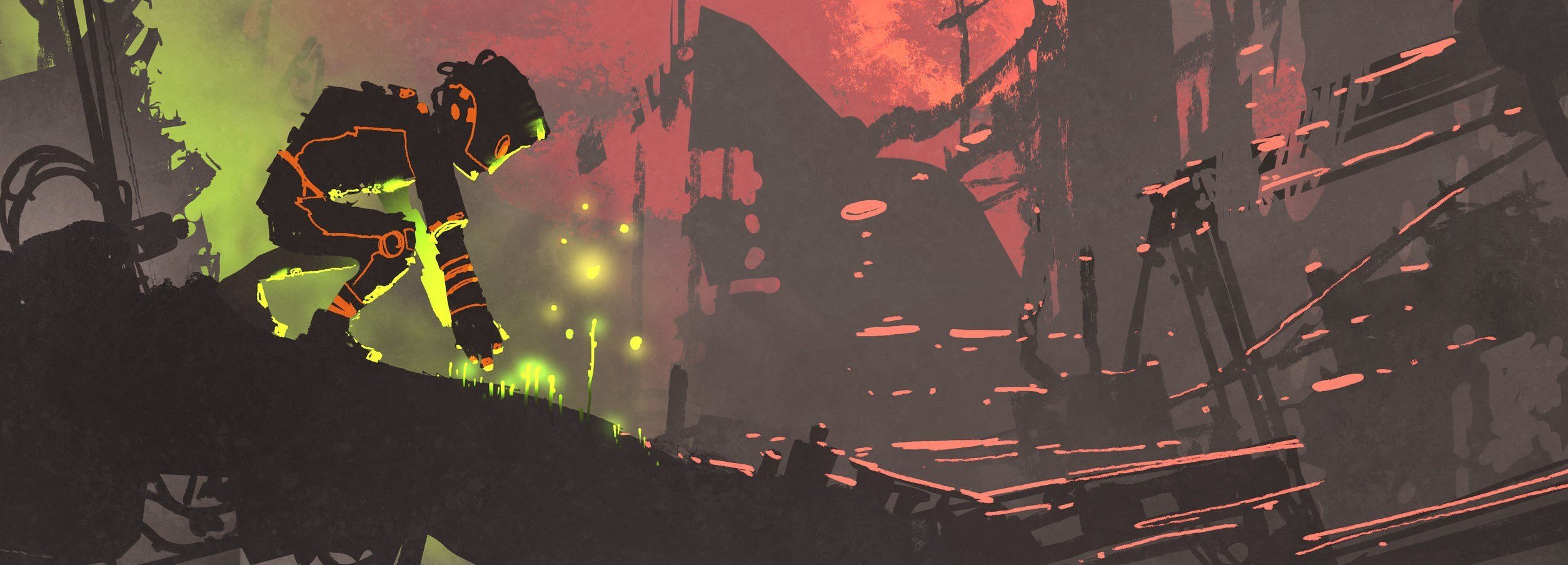 the robot planting seeds in the ruin city at sunset, illustration painting