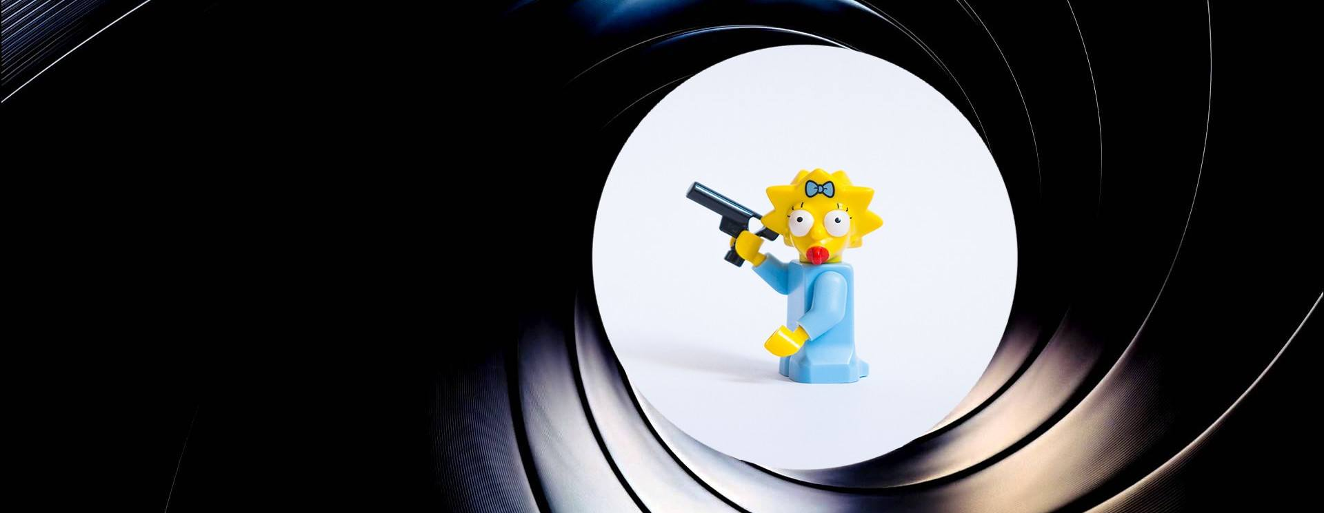 LEGO Maggie doing the iconic James Bond intro.
