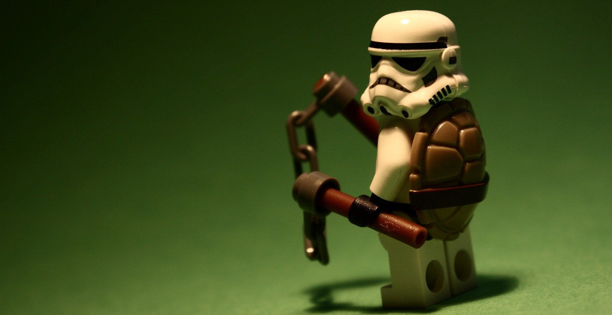 This is a mix and match photo, of a stormtrooper and ninja turtle, which probably makes him pretty flexible.