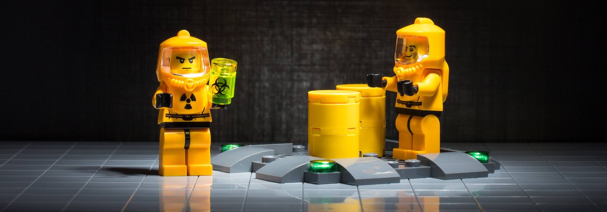 A photo of LEGOs in Hazmat suits, which could be a little over the top for the gym.