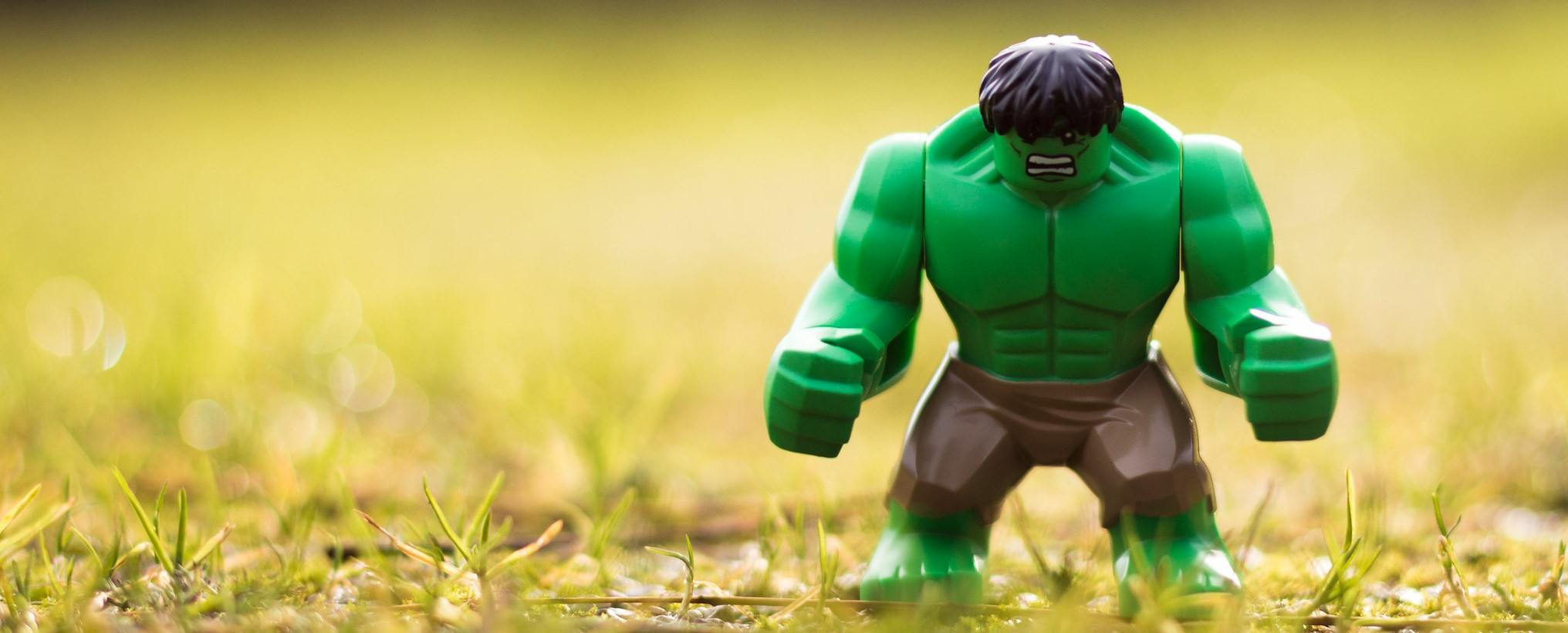 A photo of LEGO Hulk, who I don't think eats protein to look like that.