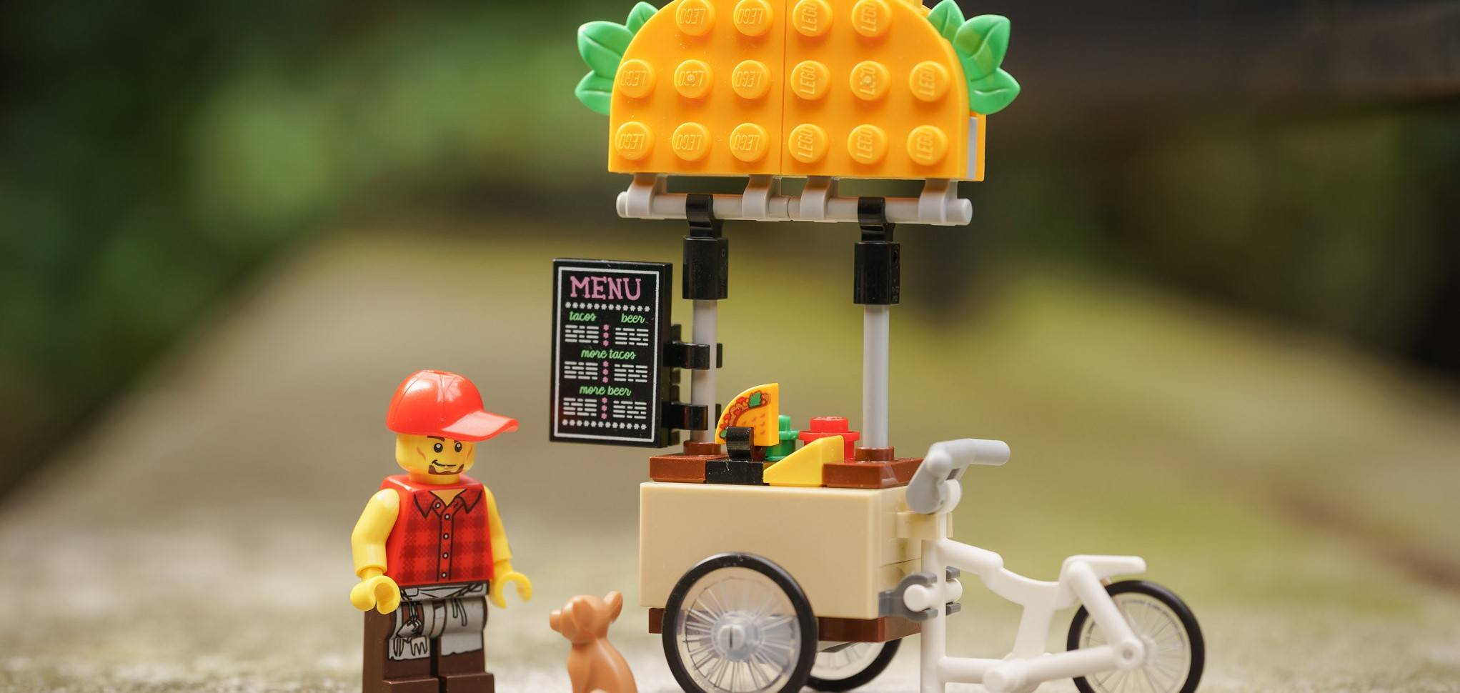 This photo shows a LEGO looking at a dog, who probably wants a portion-controlled taco.