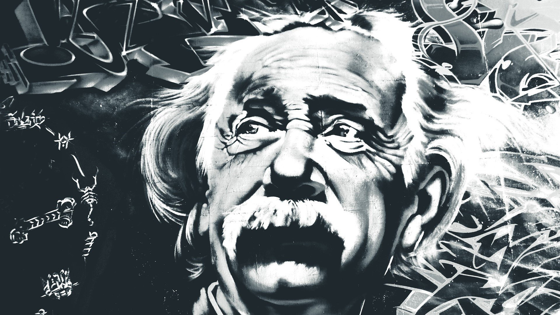 A mural of Einstein, who probably felt like a fraud from time to time.