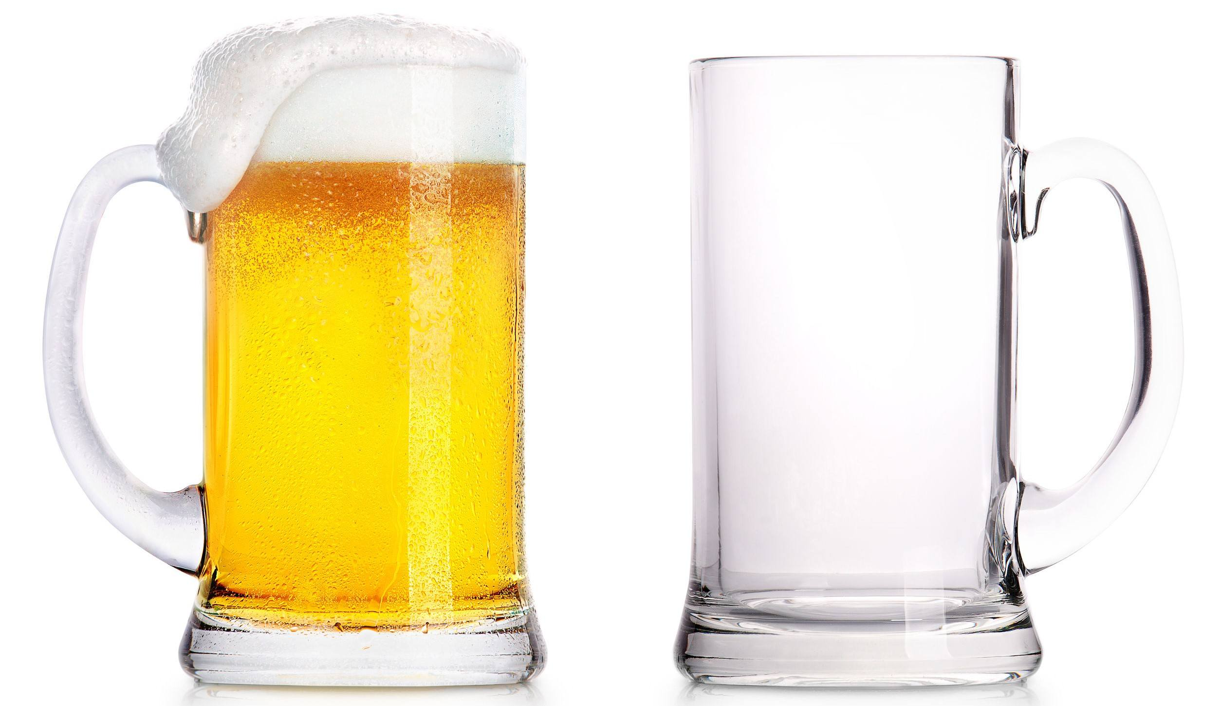 Two beer mugs, one with beer, the other empty because of Dry January.