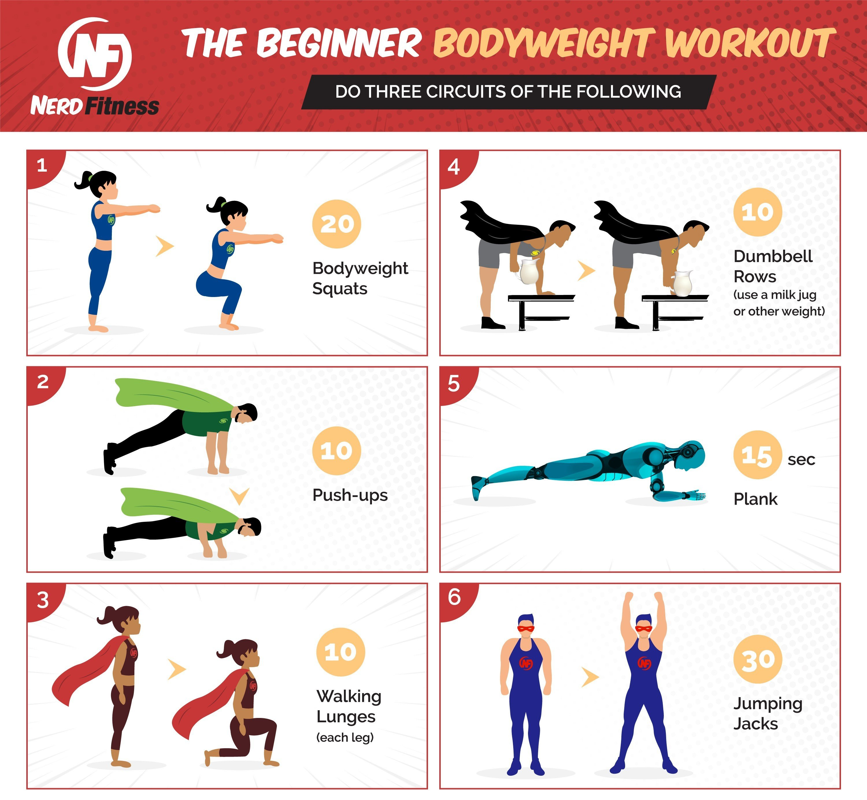 This infographic will show you the 6 exercises needed to complete our Beginner Bodyweight Workout.