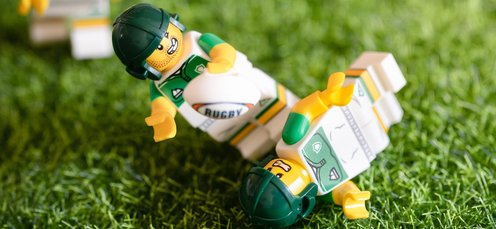 LEGO Rugby players in action.