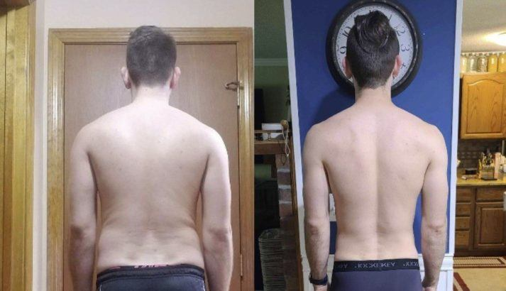 Gabe, before and after photo, back. Before photo shows thick waist and hips, short hair. After photo shows very narrow waist, broader shoulders, ponytail.