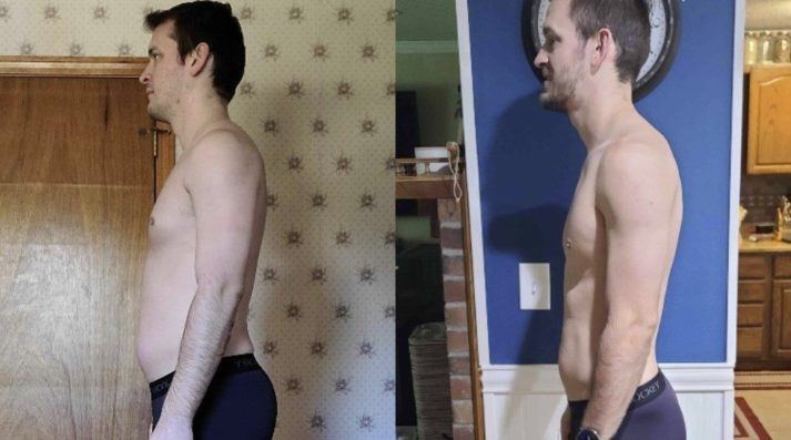Gabe, before and after photo. Side view, showing significantly less belly fat.