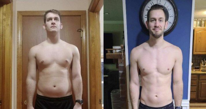 Side by side before and after photos of a Caucasian man, shirtless, front view from waist up. In before photo, he looks nervous, with significant fat on chest and belly, and minimal muscular development. In after photo he is smiling, moderately lean with very little belly fat, and more muscle on chest and shoulders.