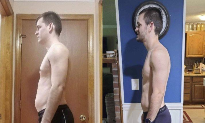 Gabe, before and after. Side view showing considerably more belly fat before.