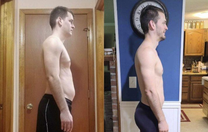 Gabe, before and after photo. Side view, showing significantly less belly fat and better posture.