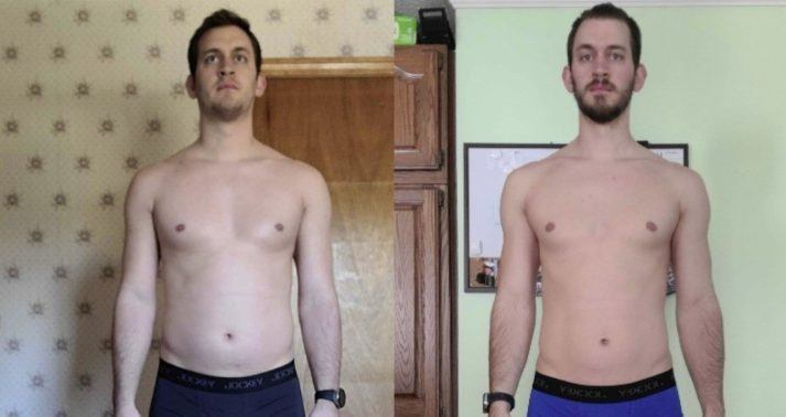 Gabe, before and after photo, 1 year. More muscular in chest and shoulders, and short beard.