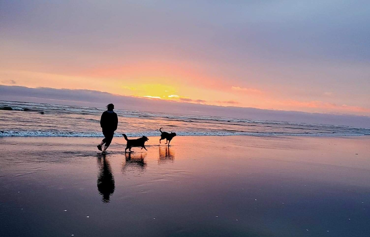 Ranada running on the beach with her two dogs at sunset