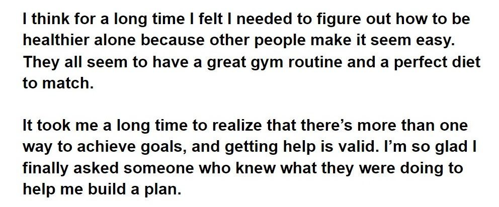 A quote from Ranada about how fitness journeys don't look the same